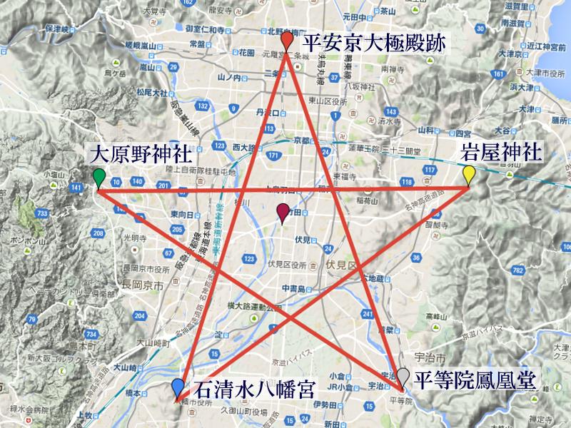 京都南部の結界、五芒星