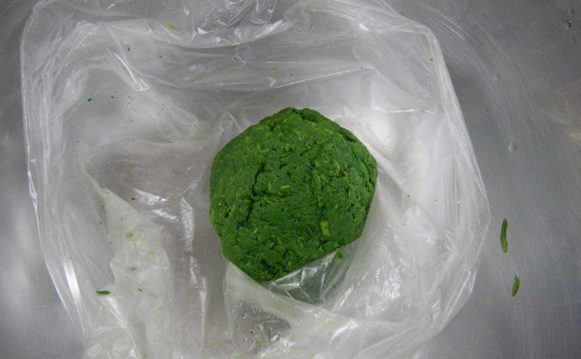 緑色の物体、怖い。ヨモギならいいんだけど。