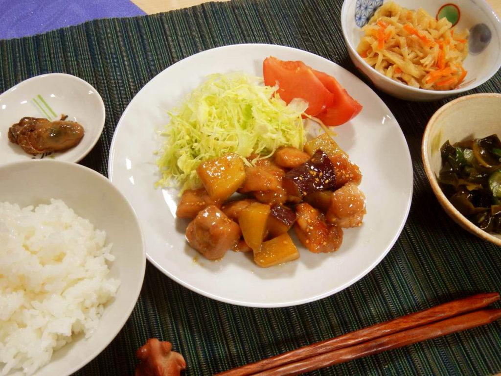 鶏とさつまいもの炒め煮定食上