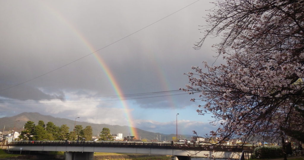 出町柳デルタで虹