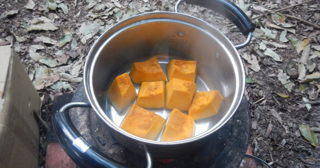 カボチャを炊く